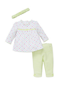 Little Me 3-Piece Multicolored Polka Dot Top, Headband, and Striped Pants Set