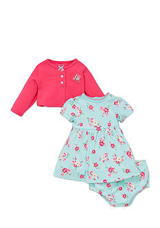 Little Me Cardigan and Floral Dress Set