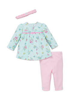 Little Me 3-Piece Floral Top, Headband, and Pants Set