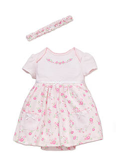 Little Me 2-Piece Floral Bodysuit Dress and Headband Set