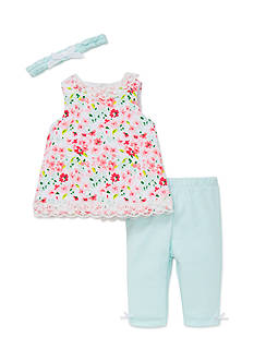 Little Me Floral Tunic Set with Headband