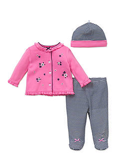 Little Me 3-Piece Daisy Stripe Cardigan, Hat, and Footed Pants Set