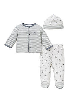 Little Me 3-Piece Safari Cardigan, Hat, and Pants Set
