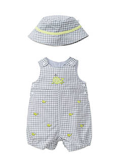 Little Me Happy Whales Sunsuit With Hat