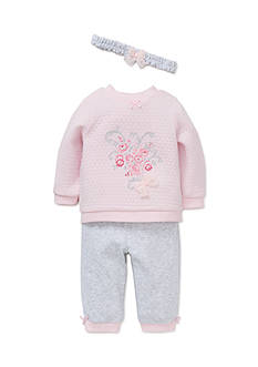 Little Me 3-Piece Gray Floral Quilt Pant Set