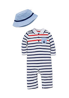 Little Me Stripe Coverall With Hat