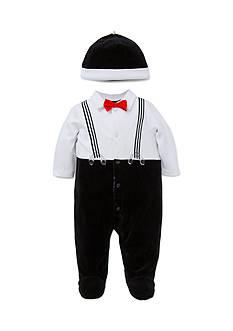 Little Me 2-Piece Suspender Footie And Hat Set