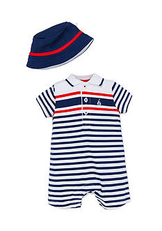 Little Me Stripe Romper And Hat