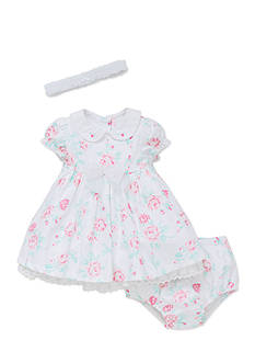 Little Me Fanciful Flowers Dress Set with Headband