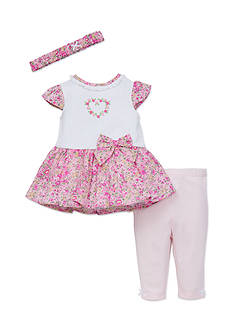 Little Me White Liberty Dress and Legging Set