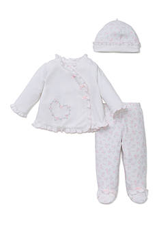 Little Me 3-Piece Floral Footed Pant, Long Sleeve Tunic, and Hat Set
