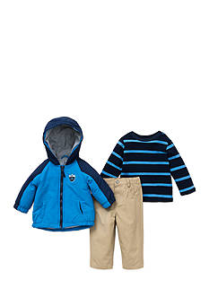 Little Me 3-Piece Hooded Jacket, Top And Pant Set