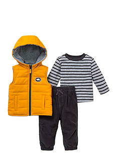 Little Me 3-Piece Hooded Vest, Top And Pant Set