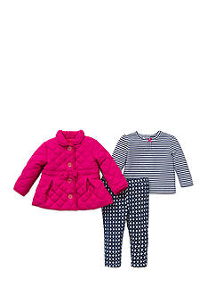 Little Me 3-Piece Quilted Jacket, Shirt And Legging Set