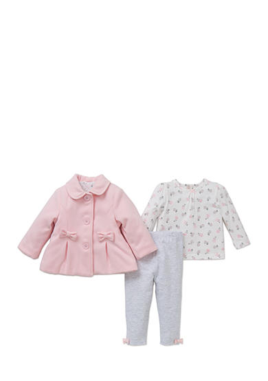 Little Me 3-Piece Pleated Jacket, Floral Top And Legging Set