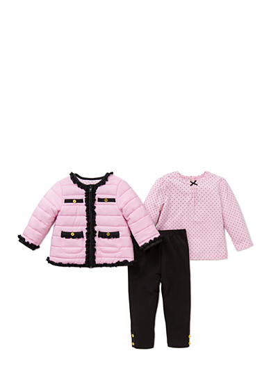 Little Me 3-Piece Puffer Jacket, Polka Dot Top And Legging Set