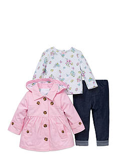 Little Me 3-Piece Peacoat, Shirt, and Jeans Set
