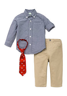 Little Me 3-Piece Button Front Shirt, Tie And Gingham Pant Set