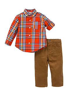 Little Me 2-Piece Plaid Button Front Shirt And Pant Set