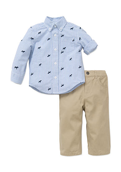 Little Me 2-Piece Dog Print Button Front Shirt And Pant Set