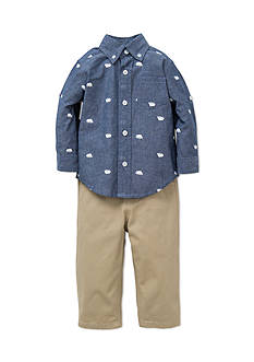 Little Me 2-Piece Bear Print Button Front Shirt And Pant Set