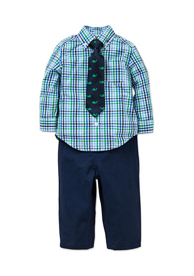 Little Me 3-Piece Checkered Button Front Shirt, Tie And Pant Set
