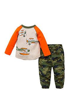 Little Me 2-Piece Plane Print Shirt And Pant Set