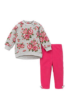 Little Me 2-Piece Rose Sweatshirt And Legging Set