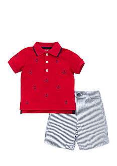Little Me Anchor Polo and Short Set