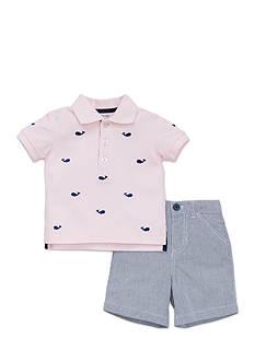 Little Me Whale Seersucker Short Set