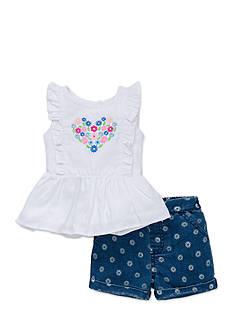Little Me 2-Piece Flower Heart Shirt and Shorts Set