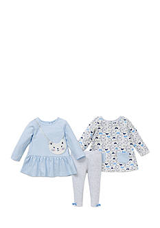 Little Me 3-Piece Cat Tunic And Legging Set