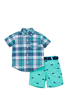 Little Me Plaid Whale Short Set