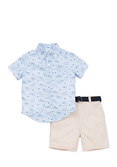 Little Me Dino Woven Short Set