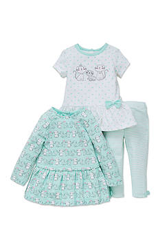 Little Me 3-Piece Kitty Top And Leggings Set