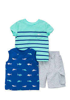 Little Me 3-Piece Shark Shirts and Short Set