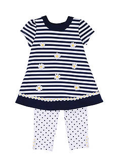 Little Me 2-Piece Ponte Daisy Dress and Leggings Set