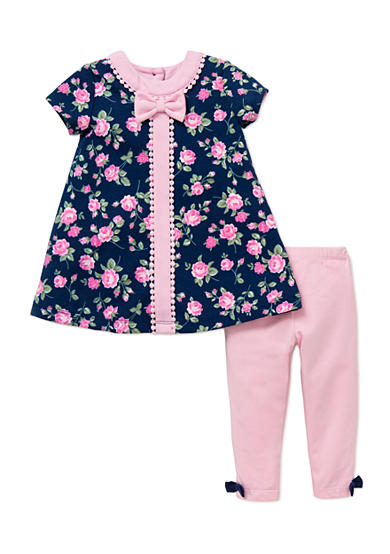 Little Me 2-Piece Rose Dress And Legging Set