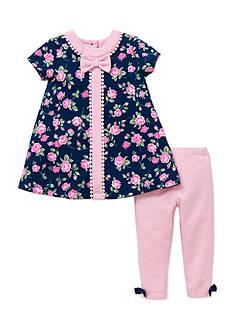 Little Me 2-Piece Rose Dress And Legging Set