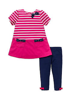 Little Me 2-Piece Striped Dress And Legging Set