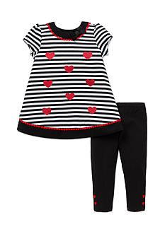 Little Me 2-Piece Heart Print Dress And Legging Set