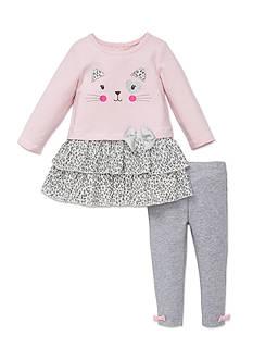 Little Me 2-Piece Cat Dress And Legging Set