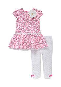 Little Me 2-Piece Floral Dress And Legging Set