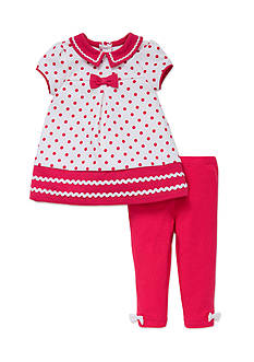 Little Me 2-Piece Polka Dot Bow Top and Leggings Set