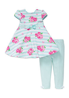 Little Me 2-Piece Floral Dress And Legging Set