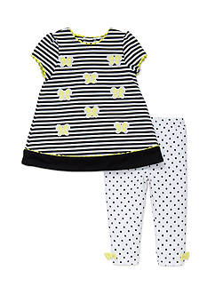 Little Me 2-Piece Butterfly Dress And Legging Set