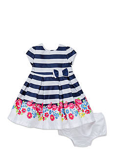 Little Me Floral and Navy Stripe Dress Set