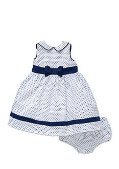 Little Me Navy and White Polka Dot Dress Set