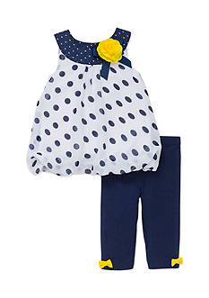 Little Me Navy and White Polka Dot Tunic and Capri Set