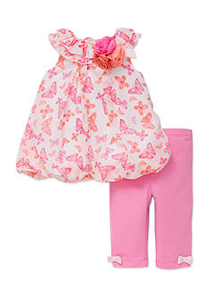 Little Me Pink Butterfly Tunic and Legging Set